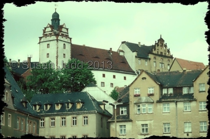 Colditz castle above the town, seen in 1993