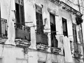Balconies with washing, Old Havana, Cuba