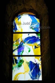 Blue and yellow modern stained glass, France