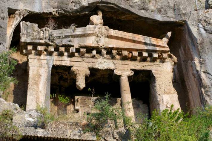 Closer view of Lycian tomb, Fethiye