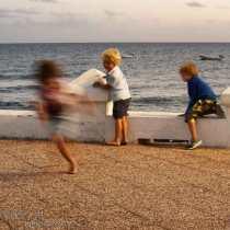 Kids at play near the sea