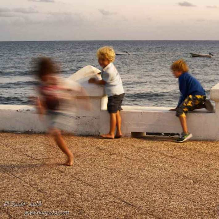 Kids at play near the sea