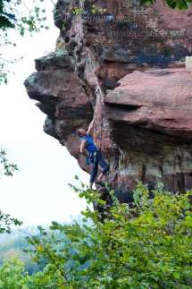 Scaling the rock in northern Alsace 1